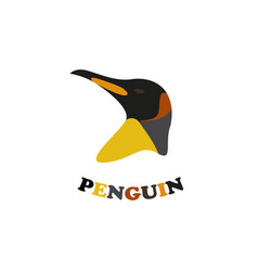 king penguin logo emblem on white background vector image