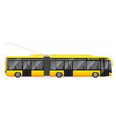 Large articulated trolleybus yellow with modern vector