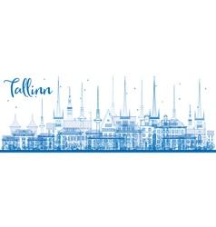 Outline tallinn skyline with blue buildings vector