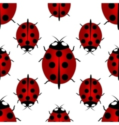 Red ladybird with seven points on the back - for vector image vector image