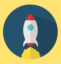 rocket icon in flat design startup vector image vector image