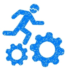 Running developer over gears grainy texture icon vector