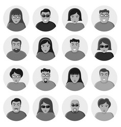 Set of characters flat icons vector