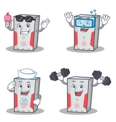 Set of computer character with ice cream fitness vector
