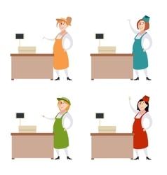 Set of seller women vector image
