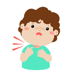 Sick boy sore throat cartoon vector