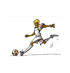 Side view of man playing football vector image