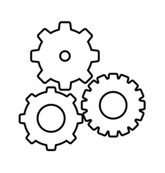 silhouette gears sign icon vector image