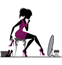 Silhouette girl with shoes vector image vector image