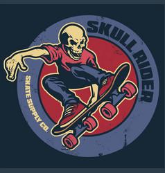 skull skateboarder vintage badge vector image vector image