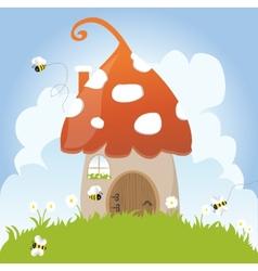 Spring bees house mushroom door fairy tale clouds vector
