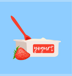 strawberry yogurt fresh and healthy dairy product vector image