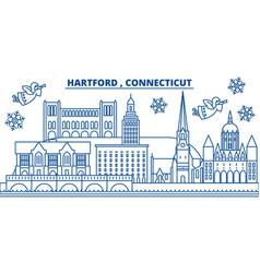 Usa connecticut hartford winter city skyline vector