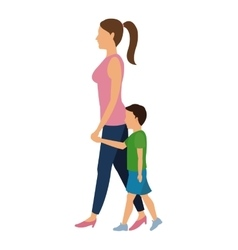 Woman and child walking design vector