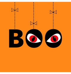 Hanging word boo text with red eyes evil eyeballs vector