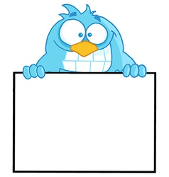 Blue bird presenting a blank sign vector