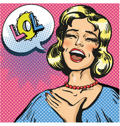 pop art of laughing out loud vector image
