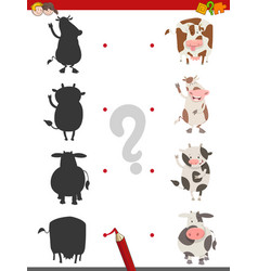 Shadow activity with cow animals vector