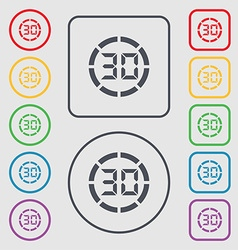 30 second stopwatch icon sign symbols on the round vector