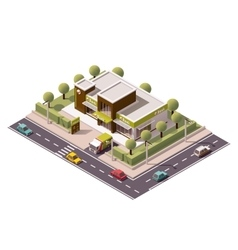 Isometric bank icon vector