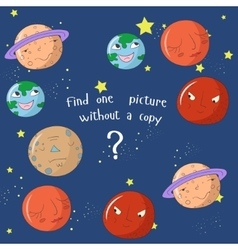 Educational game find one picture without copy vector