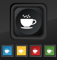 The tea and cup icon symbol set of five colorful vector