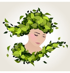Spring face leaves vector
