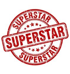 superstar red grunge round vintage rubber stamp vector image