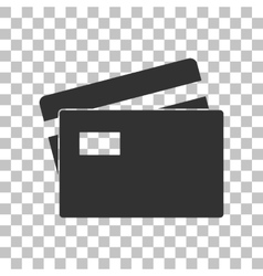 Credit card sign dark gray icon on transparent vector