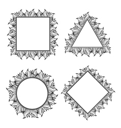 Black white squared circle and triangle frames vector