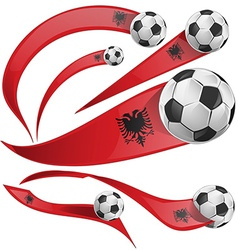Albania flag set with soccer ball vector