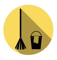 Broom and bucket sign flat black icon vector