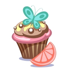 Cake with butterfly vector