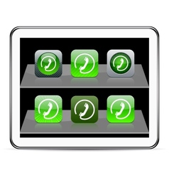 Call green app icons vector image vector image