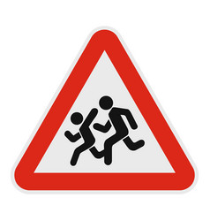 children crossing the road icon flat style vector image