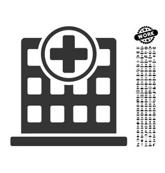 Clinic building icon with work bonus vector