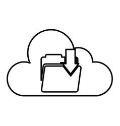 Cloud computing with folder download isolated icon vector