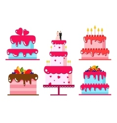 color flat background with cake vector image