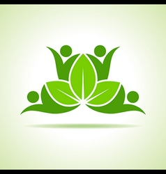 creative green people symbol design with leaf vector image