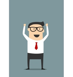 Excited businessman with raised hands vector image vector image