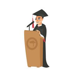 Flat boy graduate in gown cap vector