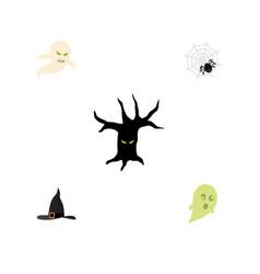 Flat icon halloween set of witch cap phantom vector