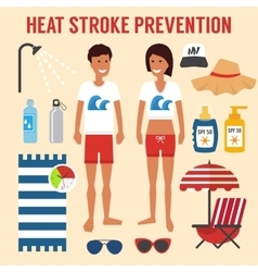 Heat sun stroke prevention vector