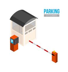 isometric parking entrance city elements vector image