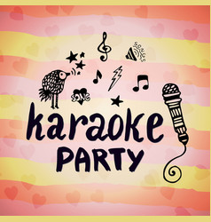 Karaoke party music creative card with doodle vector