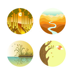 Landscape icons colorful flat poster on vector