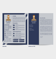 Male resume and letter template vector