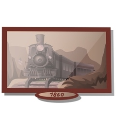 Picture eighteenth-century with american train vector
