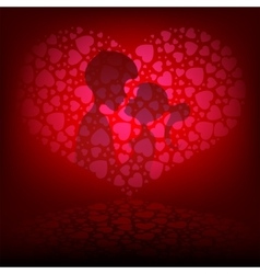 Pink background with two lovers vector image vector image