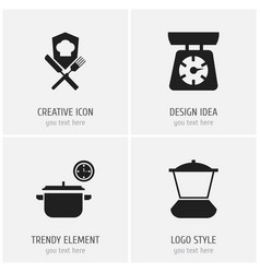 Set of 4 editable kitchen icons includes symbols vector